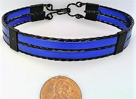 Blue Anodized Aluminum Black Copper Wire Wrap Bracelet 13 - $16.00
