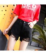 Women Spring Summer Pure Color High Waist Rough Edge Denim Shorts black_... - $22.68