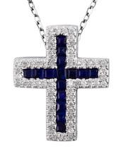 Blauer Saphir Geburtsstein 14K Weiss Gold 0.39ct Kt Religiös Kreuz Anhänger - $1,145.42