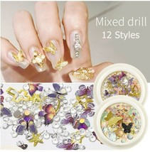 3D butterfly Nail art decorations 1 box Mix Shapes Glitter Diamond Pearls - $14.43