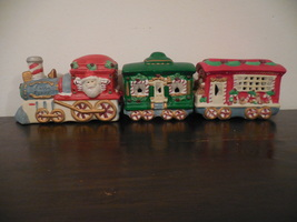 Ceramic Santa Train Figurine, Christmas Train Set, Hermitage Pottery wit... - $15.00
