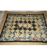 handcrafted quilt floral yellow gold 30 x 37 lap  - $35.00