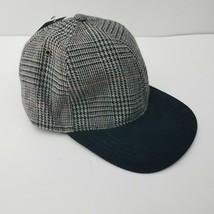 NEW Goodfellow & Co. Black Gray Orange Plaid Wool Blend Strap Back Cap Hat NWT image 2