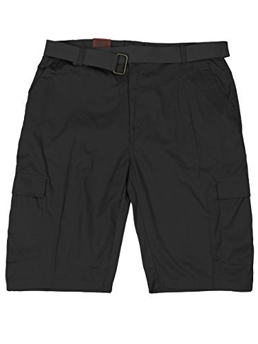 LR Scoop Men's Casual Golf Belted Cargo Dress Shorts Big Plus Sizes (48W, Black)