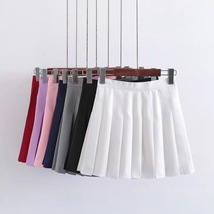 Women Girls Campus Style Pleated Mini Skirt School Skirt, Black White, Plus Size image 2