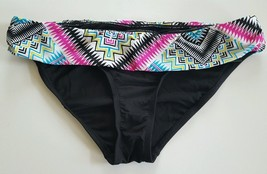 Apt 9 Swim Bikini Scoop Hipster Swimwear Fold Over Bottom Black Multi Color - $9.99
