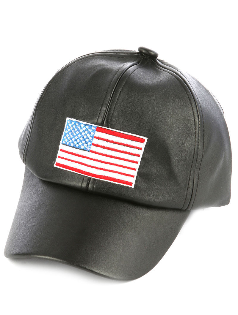 Embroidered American Flag Baseball Hat Faux Leather Cap Black