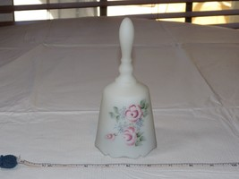 Fenton Musical Bell Handpainted and Signed frosted white flowers USA~ - $38.11