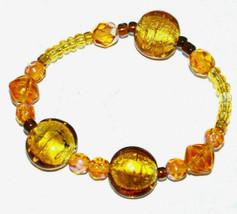 vintage orange glass plastic beaded stretch bracelet - $5.93