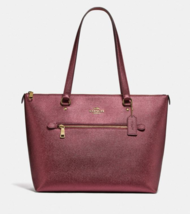 COACH GALLERY TOTE  Im/Metallic Wine Crossgrain Leather  F87684 - $296.01