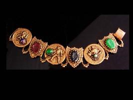 Antique Bookchain bracelet / Victorian lion / intaglio knight cameo / Ed... - $175.00