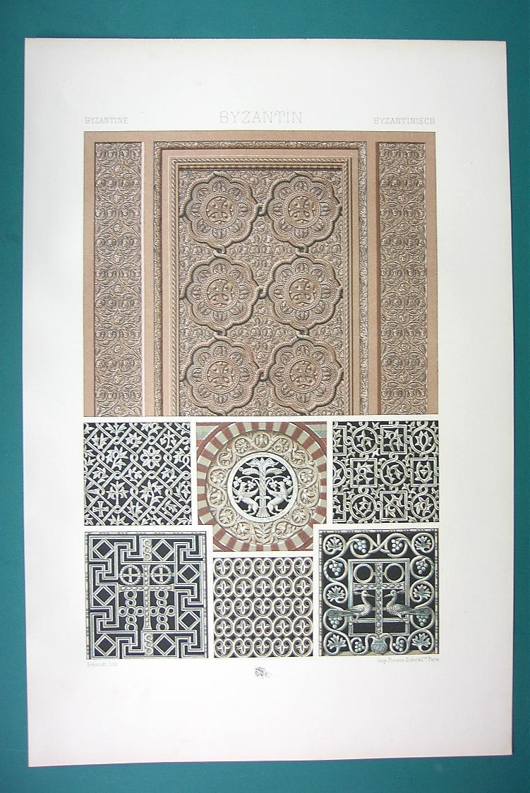 Primary image for BYZANTINE Ornaments 4-6th C Cairo Ravenna  - COLOR Litho Print by Racinet