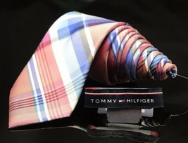 TOMMY HILFIGER MEN'S TIE PLAID YELLOW, BLUES, Cross Over Striped NEW - $31.28