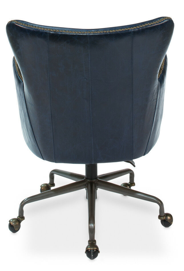 Chateau Blue Top Grain Leather Office Library Chair ,25'' x 35''H.