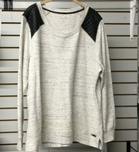 Calvin Klein Womens Top 2X Heather Gray Faux Quilted Leather Trim Sweat - $13.93