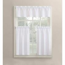 Mainstays Solid Microfiber Kitchen Window Curtain Tier & Valance Set White 54X36 - $15.99