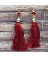 Burgundy & Gold Tassel Earrings Boho Festival Bohemian Dangle Drop Gemstone - $14.99