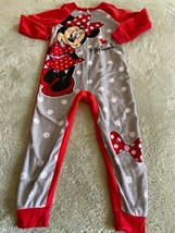 Disney Minnie Mouse Girls Gray Red Polka Dots Bows Fleece Long Sleeve Pa... - $7.38