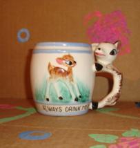 """Vintage Kitsch Child's """"Always Drink Milk"""" Deer Mug - Mid Century Childr... - $14.99"""