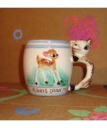 "Vintage Kitsch Child's ""Always Drink Milk"" Deer Mug - Mid Century Childr... - $14.99"