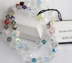 "SWAROVSKI SWAN TAG Double Strand AB CRYSTAL BRACELET NEW WITH TAG Magnetic 7"" image 2"