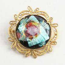 High End Vintage Jewelry Stunning High End French Art Glass Brooch - $25.00