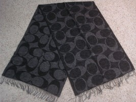COACH signature C logo print scarf black gray L Large Wool Silk Angora C... - $77.22