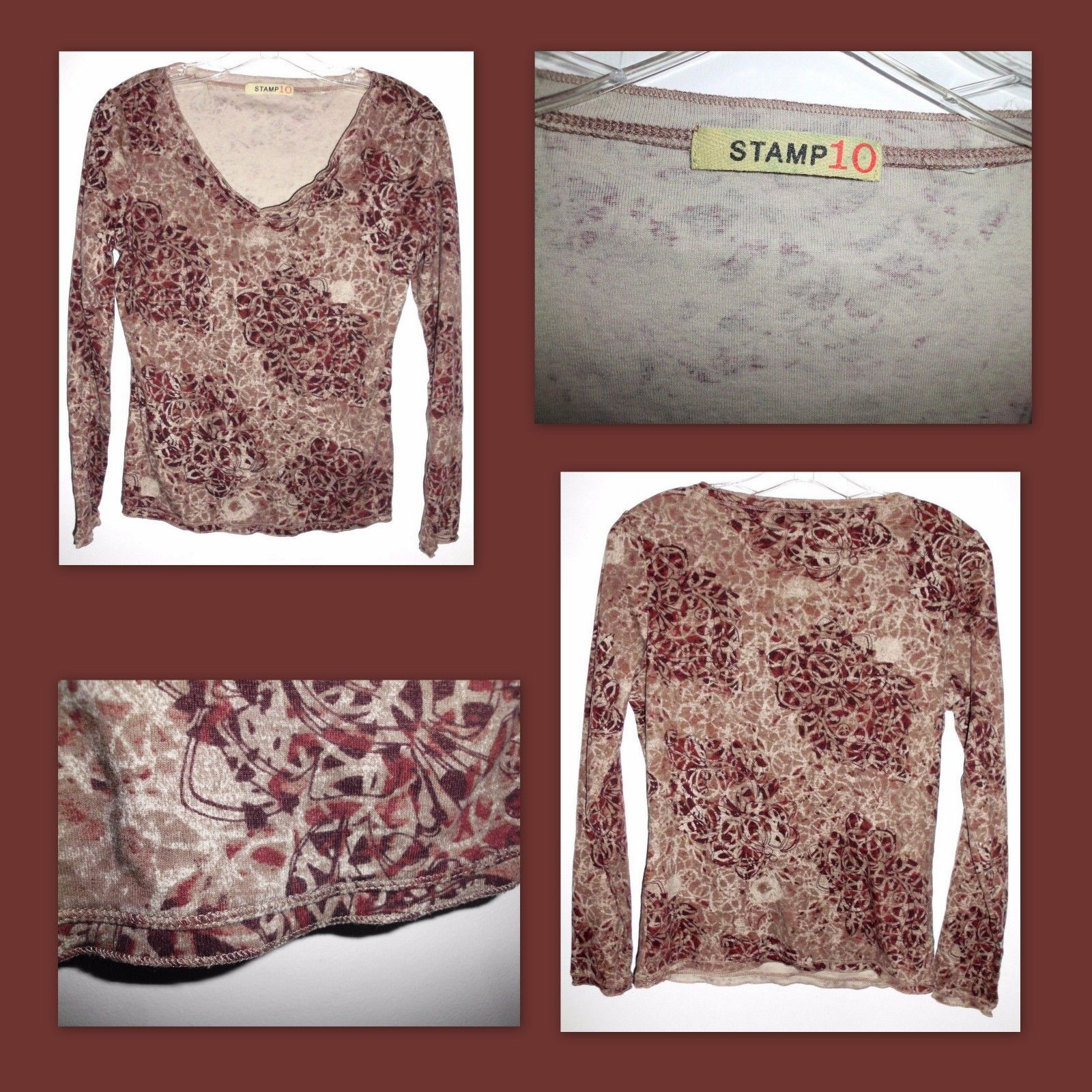 "Primary image for STAMP 10 Brown Maroon Long Sleeve V-Neck Shirt Top 36"" Bust Women's VGC"