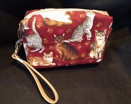 Clutch Bag/Wristlet/Makeup Bag - Cats on burgundy red background image 2