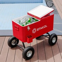 Red Wagon Style Patio Deck Backyard Travel Portable Cooler Chest - $243.19