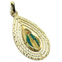 Pendentif Médaille, or Jaune 750 18K, Miraculeuse, Goutte Grand Tricoté image 2