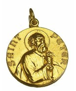 Real Genuine Solid 10KT Yellow Gold St. Saint Peter Pendant Charm Medal ... - $386.09