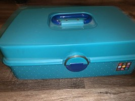 Caboodles ~ Turquoise Blue Cosmetic Make Up Case Box Accessory Rectangle... - $26.17