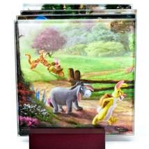 Thomas Kinkade Winnie the Pooh Prints 4 Piece Fused Glass Coaster Set w Holder image 2