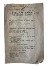 VIntage WWI Era Bill Of Fare For 10 Days 200 Men Army Appropriation Book... - $18.56