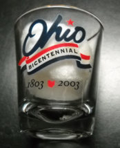 Ohio Bicentennial Shot Glass Clear Glass Ohio Bicentennial Banner Gold Rim - $7.99