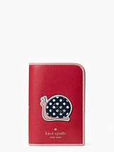 Kate Spade Enchanted Forest Snail Passport Holder Card Slots Red Novelty... - $54.44