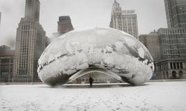 """Chicago Bean """"Sky Gate""""  Snow Covered      2.5 x 3.5  Fridge MAGNET - $3.99"""