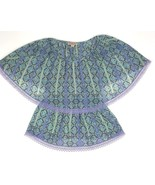 Nine West Vintage America Womens Small Boho Purple Floral Blouse Lace Tr... - $13.09