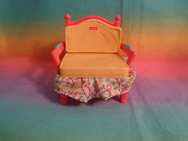 Fisher Price Loving Family Dollhouse Yellow / Pink Chair Fabric Skirt - $2.92