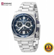 ZODIAC ZO7500 Men Round Chrono DIVER Watch Silver Steel Bracelet NAVY BL... - $595.45