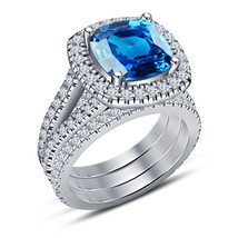 14K White Gold Finish 925 Silver Cushion Blue Sapphire Bridal Wedding Ring Set - $135.07