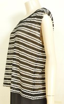 Bailey 44 top SZ S black white beige stripe eyelet lined chic career - $34.64