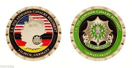 "ARMY VILSECK GERMANY TOUJOURS PRET 1.75"" 2ND ARMORED CAVALRY CHALLENGE COIN - $16.24"
