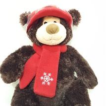 "Brown Teddy Bear Plush Stuffed Animal 17"" Hugfun International Red Hat S... - $15.89"