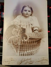 "Picture of Baby Girl VINTAGE ANTIQUE Photograph 4X6"" 1880's Schubert's Studios"