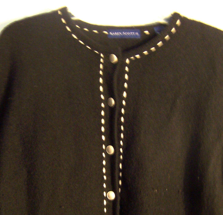 Karen Scott II Black Wool Blend Sweater Jacket White Accents Long Sleeve Size XL