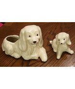 Cocker Spaniel Planter Set Retriever Dog Mother & Puppy Figurine VTG Pot... - $29.65
