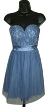 Delia's Fit N Flare Dress Strapless Lilac Floral Lace Womens Size 0 Ribb... - $11.85