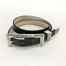 Chico's  Pewter Buckle Black Patent Leather Belt Large Rectangular Size ... - $19.30